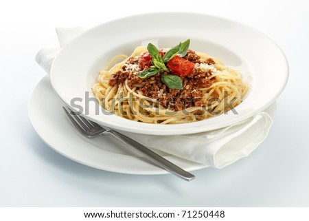 Spaghetti Bolognese on white background
