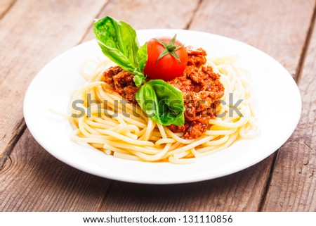 Spaghetti bolognese - pasta with tomato sauce and minced meat