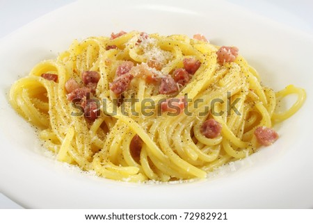 spaghetti carbonara with bacon, eggs, black pepper, olive oil ...