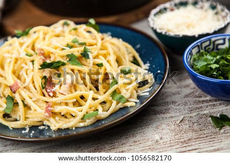 Spaghetti carbonara with egg and pancetta #1056582170