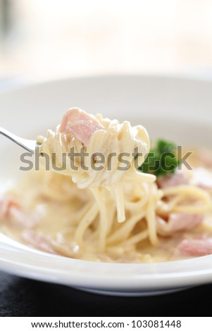 Spaghetti Carbonara with ham and cheese
