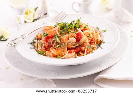Spaghetti Diablo with king prawns