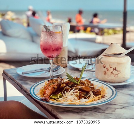 spaghetti food restaurant at seabeach table indie folk real life style with film tone photograph