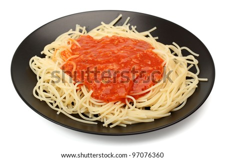 Spaghetti Napolitana. Isolated with clipping path.