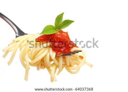 spaghetti noodles white background