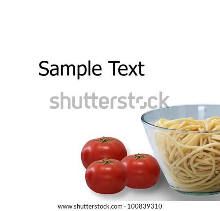 Spaghetti pasta on white background.