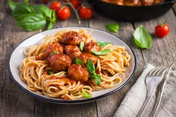 Spaghetti pasta  with meatballs and tomato sauce,  selective focus