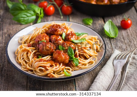 Spaghetti pasta  with meatballs and tomato sauce,  selective focus
