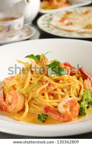 Spaghetti pasta with shrimp  on a plate