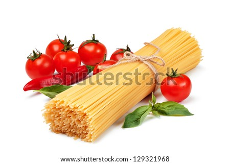 Spaghetti, tomatoes, and cheese on a white background