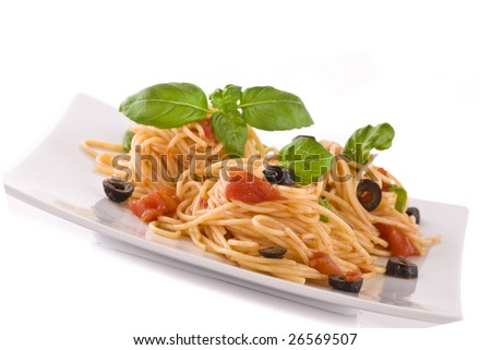 Spaghetti vegetarian on plate isolated on white