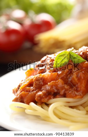 Spaghetti with a Bolognese and vegetable sauce.