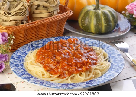 Spaghetti with a rich meat sauce