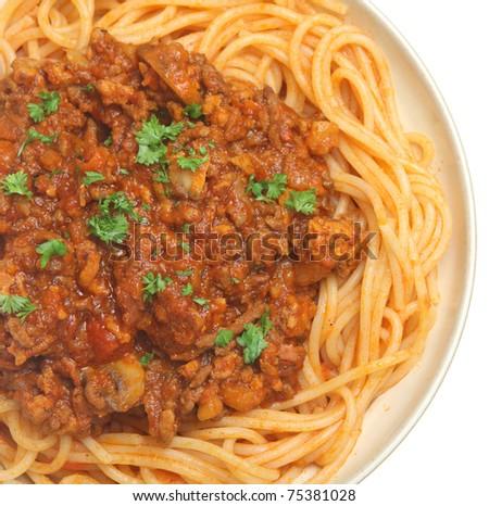Spaghetti with beef and tomato ragu.