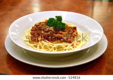 Spaghetti With Beef Meatballs In Rich Bolognaise Sauce Stock Photo ...