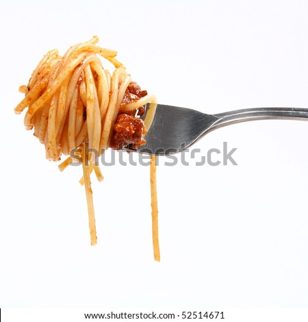 Spaghetti with bolognese sauce  hanging on a fork