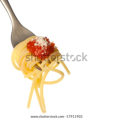 Spaghetti with sauce and parmesan cheese on a fork