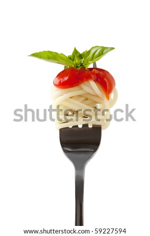 Spaghetti with sauce and parmesan cheese on a fork. Isolated on a white background