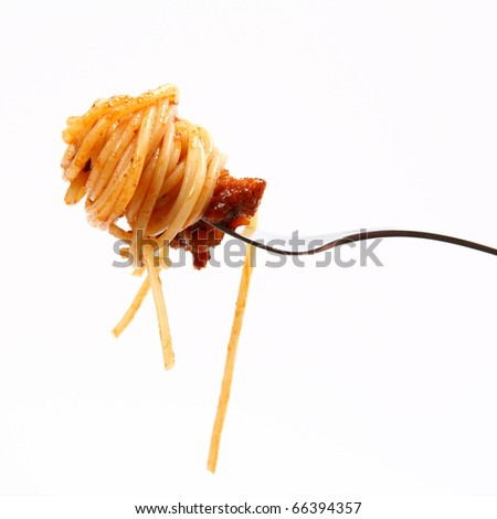 Spaghetti with sauce bolognese hanging on a fork