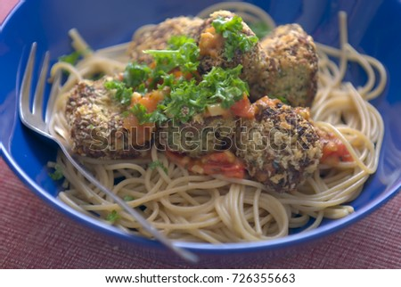 spaghetti with soya meat #726355663