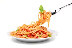 Spaghetti with tomato and basil on white background.