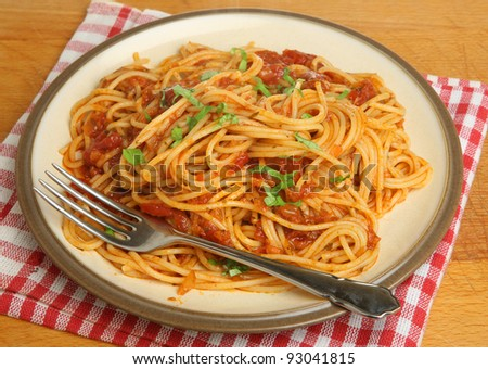 Spaghetti with tomato and chilli sauce
