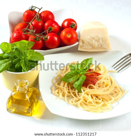 spaghetti with tomato, oil and basil