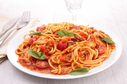 spaghetti with tomato sauce and meat