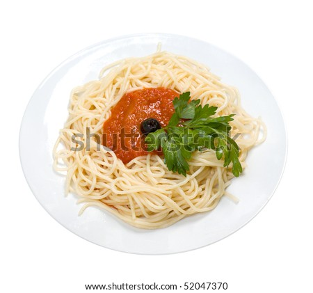 Spaghetti with tomato sauce and parsley. isolated on white background