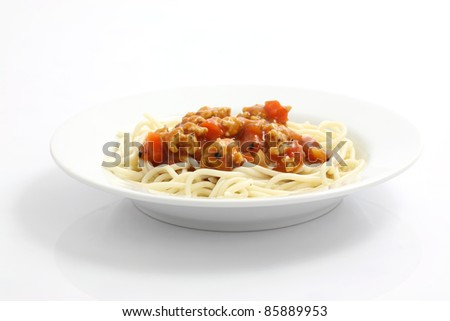 spaghetti with tomato sauce isolated in white background