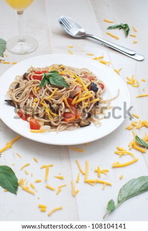 Spaghetti with vegetables for dinner