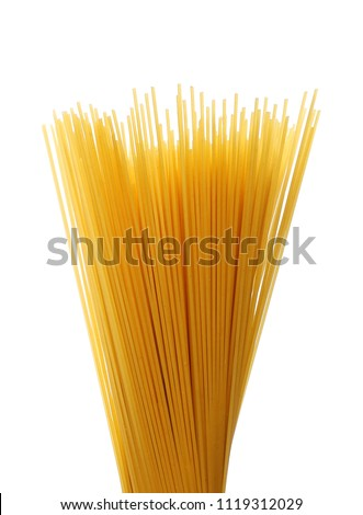 Spaghetti, yellow pasta isolated on white