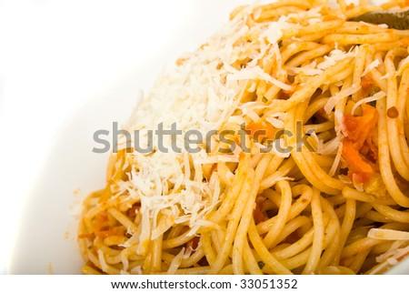 spaguetti on a plate closeup