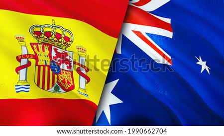 Spain and Australia flags. 3D Waving flag design. Spain Australia flag, picture, wallpaper. Spain vs Australia image,3D rendering. Spain Australia relations alliance and Trade,travel,tourism concept