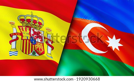 Spain and Azerbaijan flags. 3D Waving flag design. Spain Azerbaijan flag, picture, wallpaper. Spain vs Azerbaijan image,3D rendering. Spain Azerbaijan relations alliance and Trade,travel,tourism