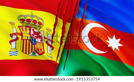 Spain and Azerbaijan flags with scar concept. Waving flag,3D rendering. Spain and Azerbaijan conflict concept. Spain Azerbaijan relations concept. flag of Spain and Azerbaijan crisis,war, attack