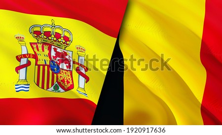 Spain and Belgium flags. 3D Waving flag design. Spain Belgium flag, picture, wallpaper. Spain vs Belgium image,3D rendering. Spain Belgium relations alliance and Trade,travel,tourism concept