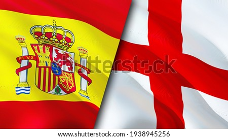 Spain and England flags. 3D Waving flag design. Spain England flag, picture, wallpaper. Spain vs England image,3D rendering. Spain England relations alliance and Trade,travel,tourism concept