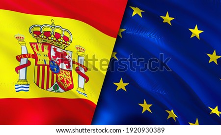 Spain and European Union flags. 3D Waving flag design. Spain European Union flag, picture, wallpaper. Spain vs European Union image,3D rendering. Spain European Union relations alliance and