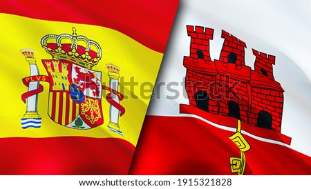 Spain and Gibraltar flags. 3D Waving flag design. Spain Gibraltar flag, picture, wallpaper. Spain vs Gibraltar image,3D rendering. Spain Gibraltar relations alliance and Trade,travel,tourism concept