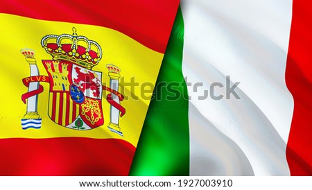 Spain and Italy flags. 3D Waving flag design. Spain Italy flag, picture, wallpaper. Spain vs Italy image,3D rendering. Spain Italy relations alliance and Trade,travel,tourism concept