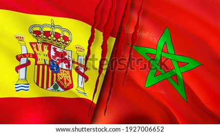 Spain and Morocco flags with scar concept. Waving flag,3D rendering. Spain and Morocco conflict concept. Spain Morocco relations concept. flag of Spain and Morocco crisis,war, attack concept