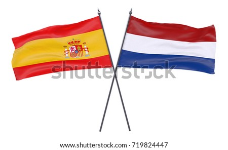 Spain and Netherlands, two crossed flags isolated on white background. 3d image