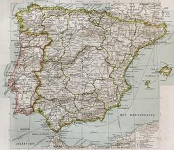 Spain and Portugal political map. By Paul Vidal de Lablache, Atlas Classique, Librerie Colin, Paris, 1894 (first edition)