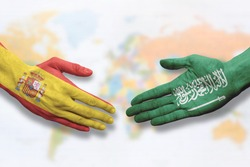 Spain and Saudi Arabia - Flag handshake symbolizing partnership and cooperation
