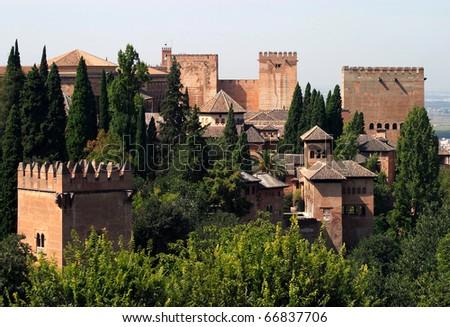 Spain Andalusia Granada Alhambra and Geralife - stock photo
