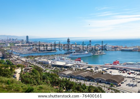 Spain. Barcelona. The top view on seaport. - stock photo