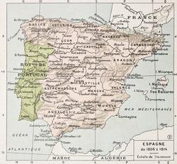Spain between 1808 and 1814 old map. By Paul Vidal de Lablache, Atlas Classique, Librerie Colin, Paris, 1894