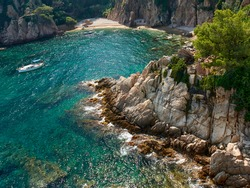 Spain. Blanes. Botanical Garden. Rocky cove with a secluded beach