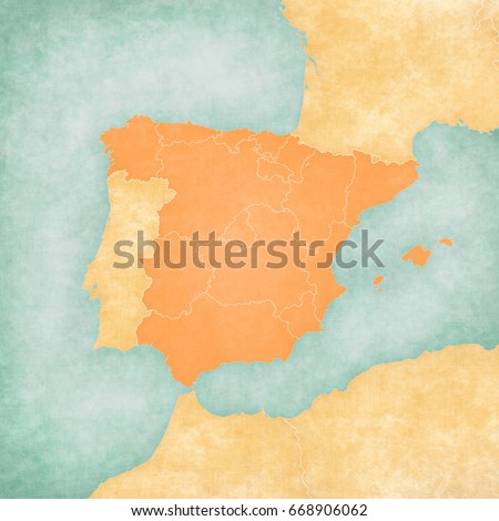 Spain (blank map with inner borders) on the map of Iberian Peninsula in soft grunge and vintage style on old paper.